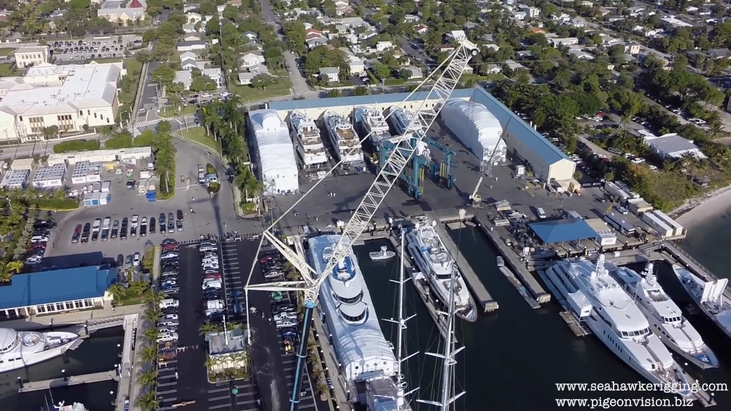 Superyacht mast pulled, filmed by a Drone. This is Superyachting.