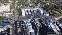 Superyacht mast pulled, filmed by a Drone